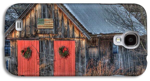 Rustic Barn With Flag In Snow Galaxy S4 Case by Joann Vitali