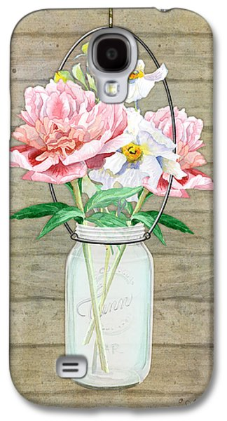 Mason Jars Galaxy S4 Cases - Rustic Country Peony n Poppy Mason Jar Bouquet on Wooden Fence Galaxy S4 Case by Audrey Jeanne Roberts