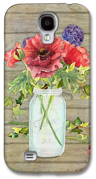 Mason Jars Galaxy S4 Cases - Rustic Country Red Poppy w Alium n Ivy in a Mason Jar Bouquet on Wooden Fence Galaxy S4 Case by Audrey Jeanne Roberts