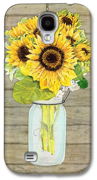 Mason Jars Galaxy S4 Cases - Rustic Country Sunflowers in Mason Jar Galaxy S4 Case by Audrey Jeanne Roberts