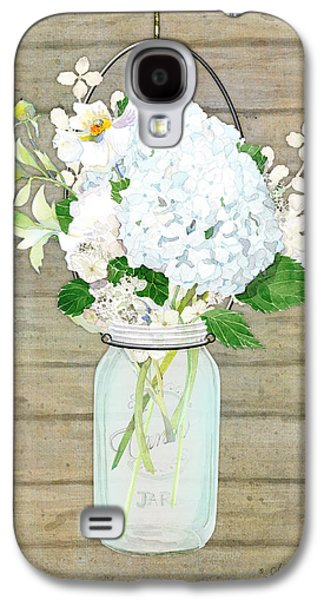 Rustic Country White Hydrangea N Matillija Poppy Mason Jar Bouquet On Wooden Fence Galaxy S4 Case by Audrey Jeanne Roberts