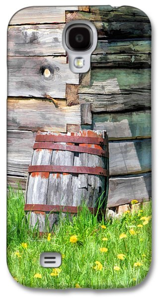 Old Barns Paintings Galaxy S4 Cases - Rustic Rain Barrel at Old World Wisconsin Galaxy S4 Case by Christopher Arndt