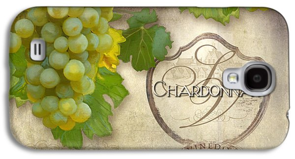 Italian Wine Paintings Galaxy S4 Cases - Rustic Vineyard - Chardonnay White Wine Grapes Vintage Style Galaxy S4 Case by Audrey Jeanne Roberts
