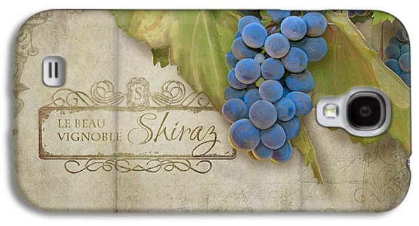 Italian Wine Paintings Galaxy S4 Cases - Rustic Vineyard - Shiraz Wine Grapes over Stone Galaxy S4 Case by Audrey Jeanne Roberts