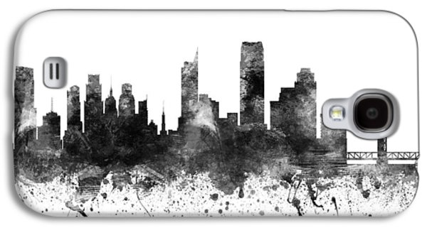 Skylines Drawings Galaxy S4 Cases - Sacramento California Cityscape 02BW Galaxy S4 Case by Aged Pixel