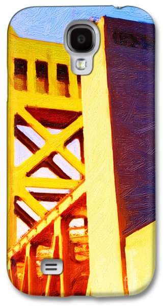 Abstract Landscape Digital Art Galaxy S4 Cases - Sacramento Tower Bridge In Abstract - 7D11564 Galaxy S4 Case by Wingsdomain Art and Photography