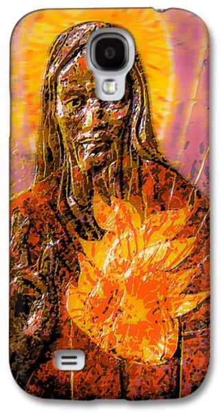 Jesus Reliefs Galaxy S4 Cases - Sacred Heart  Galaxy S4 Case by Richard Glen Smith