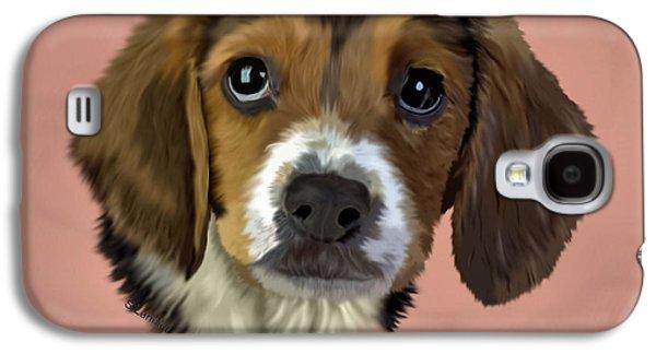 Puppies Digital Art Galaxy S4 Cases - Sad Eyes Galaxy S4 Case by Sally Lannier