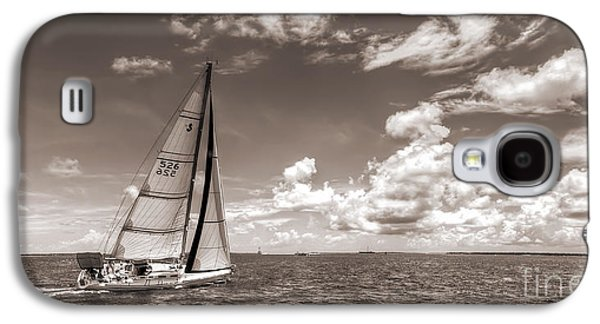 Sailboats Galaxy S4 Cases - Sailboat Sailing on the Charleston Harbor Sepia Beneteau 40.7 Galaxy S4 Case by Dustin K Ryan