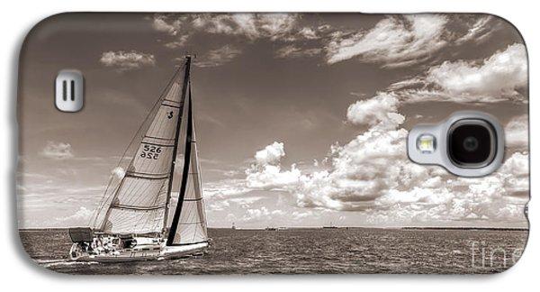 Sailboat Galaxy S4 Cases - Sailboat Sailing on the Charleston Harbor Sepia Beneteau 40.7 Galaxy S4 Case by Dustin K Ryan