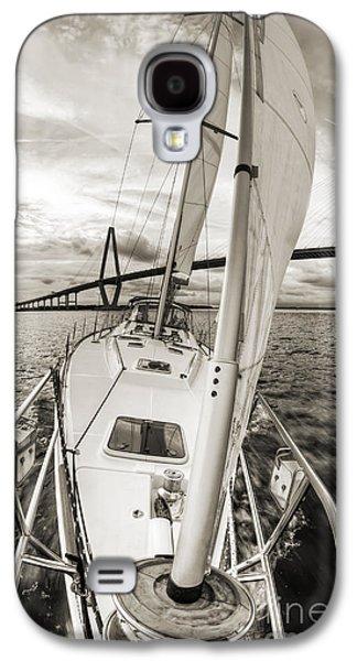 Sailboat Galaxy S4 Cases - Sailboat Sailing Past Arthur Ravenel Jr Bridge Charleston SC Galaxy S4 Case by Dustin K Ryan