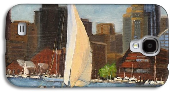 Boston Paintings Galaxy S4 Cases - Sailing Boston Harbor Galaxy S4 Case by Laura Lee Zanghetti