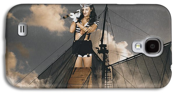 Sailor Pinup Girl On Lookout From Ships Crows-nest Galaxy S4 Case by Jorgo Photography - Wall Art Gallery