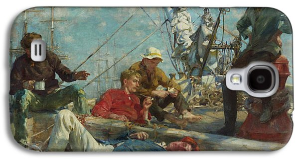 Midday Paintings Galaxy S4 Cases - Sailors Yarning. Midday Rest Galaxy S4 Case by Henry Scott Tuke