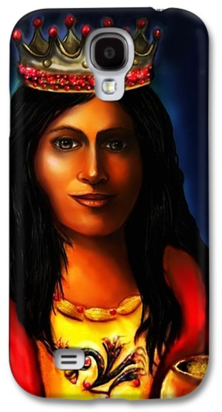 Spiritual Portrait Of Woman Mixed Media Galaxy S4 Cases - Saint Barbara Galaxy S4 Case by Carmen Cordova