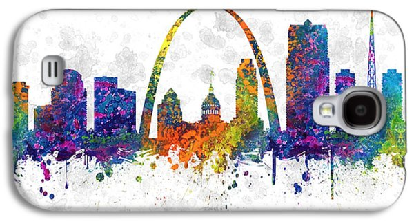 Saints Drawings Galaxy S4 Cases - Saint Louis Missouri color 03SQ Galaxy S4 Case by Aged Pixel
