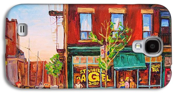 Quebec Streets Paintings Galaxy S4 Cases - Saint Viateur Bagel Galaxy S4 Case by Carole Spandau