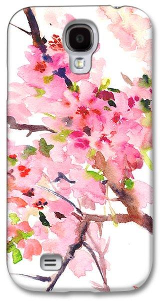 Cherry Blossoms Drawings Galaxy S4 Cases - Sakura Cherry Blossom Galaxy S4 Case by Suren Nersisyan