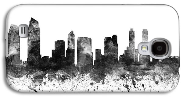Skylines Drawings Galaxy S4 Cases - San Diego California Cityscape 02BW Galaxy S4 Case by Aged Pixel