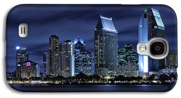 City Lights Galaxy S4 Cases - San Diego Skyline at Night Galaxy S4 Case by Larry Marshall