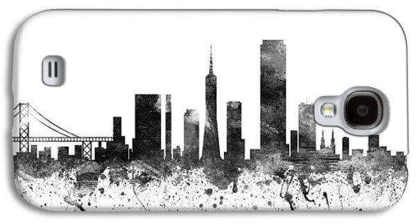 Skylines Drawings Galaxy S4 Cases - San Francisco California Cityscape 02BW Galaxy S4 Case by Aged Pixel