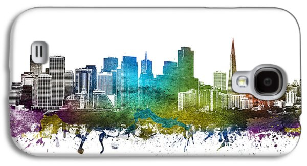 Skylines Drawings Galaxy S4 Cases - San Francisco Cityscape 01 Galaxy S4 Case by Aged Pixel