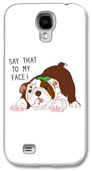 Puppies Digital Art Galaxy S4 Cases - Say That to my Face in Green Bow Galaxy S4 Case by Ronni Rae