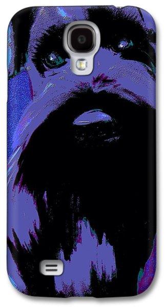 Puppy Digital Art Galaxy S4 Cases - Schnauzer Puppy Poster Galaxy S4 Case by Karen Harding
