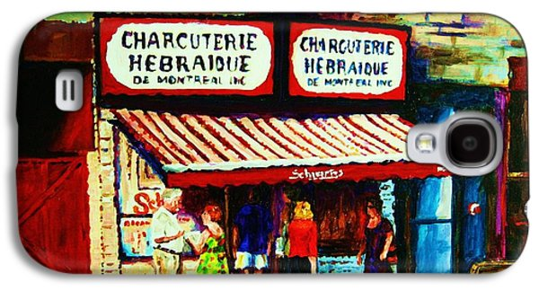 Montreal Storefronts Paintings Galaxy S4 Cases - Schwartzs Famous Smoked Meat Galaxy S4 Case by Carole Spandau