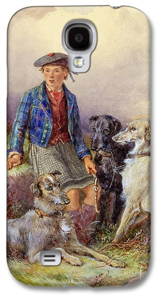 Scottish Boy With Wolfhounds In A Highland Landscape Galaxy S4 Case by James Jnr Hardy