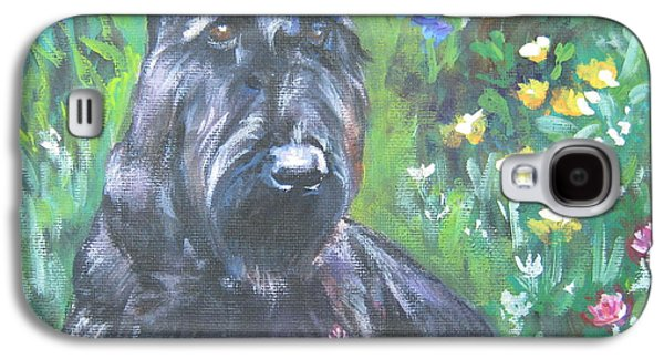 Scottish Dog Paintings Galaxy S4 Cases - Scottish Terrier in the garden Galaxy S4 Case by Lee Ann Shepard
