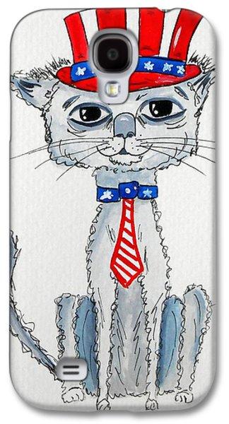4th July Galaxy S4 Cases - Scruffy Americana Cat Galaxy S4 Case by Rita Drolet