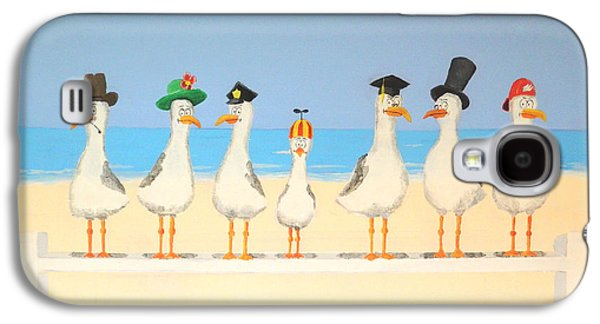 Group Of Birds Paintings Galaxy S4 Cases - Seagulls with Hats Galaxy S4 Case by Winton Bochanowicz