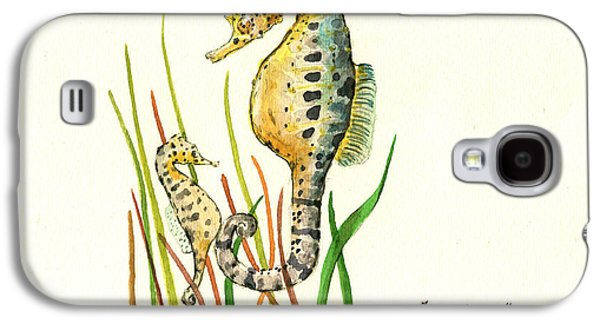 Seahorse Mom And Baby Galaxy S4 Case by Juan Bosco