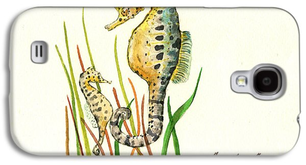 Seahorse Mom And Baby Galaxy S4 Case by Juan Bosco