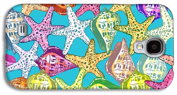 Seashell Digital Art Galaxy S4 Cases - Seashells and sea stars Galaxy S4 Case by Gaspar Avila
