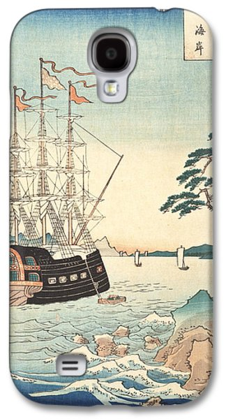 Sailboats Drawings Galaxy S4 Cases - Seashore in Taishu Galaxy S4 Case by Hiroshige