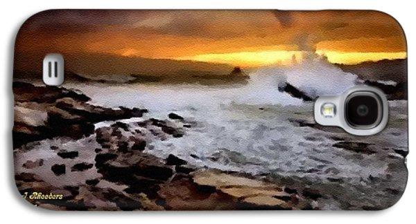 Abstract Digital Pastels Galaxy S4 Cases - Seashore Rocks Scene Catus 1 no. 2 H A Galaxy S4 Case by Gert J Rheeders
