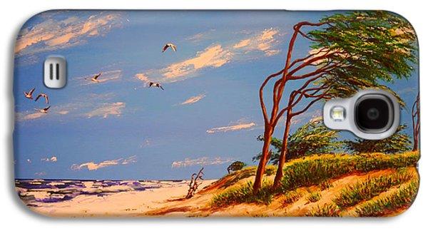 Windblown Paintings Galaxy S4 Cases - Seaside Solitude Galaxy S4 Case by Peter Kraayvanger