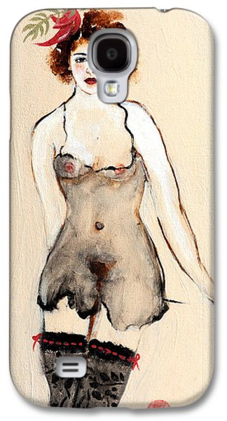 Alluring Paintings Galaxy S4 Cases - Seated Nude in Black Stockings with Flower and Bird Galaxy S4 Case by Susan Adams