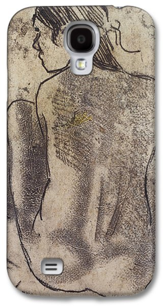 Fantasy Pastels Galaxy S4 Cases - Seated Tahitian Nude from the Back Galaxy S4 Case by Paul Gauguin