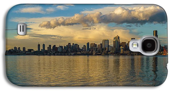 Light Galaxy S4 Cases - Seattle Skyline Dusk Dramatic Clouds Reflection Galaxy S4 Case by Mike Reid
