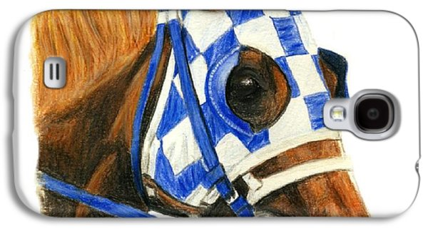 Kentucky Derby Galaxy S4 Cases - Secretariat with blinkers Galaxy S4 Case by Pat DeLong