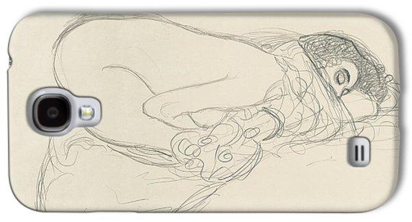 20th Drawings Galaxy S4 Cases - Semi Nude leaning forward Galaxy S4 Case by Gustav Klimt