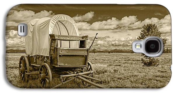 Selenium Galaxy S4 Cases - Sepia Colored Frontier Prairie Schooner Covered Wagon Galaxy S4 Case by Randall Nyhof