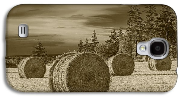 Selenium Galaxy S4 Cases - Sepia Hay Bales in a Harvest Field Galaxy S4 Case by Randall Nyhof
