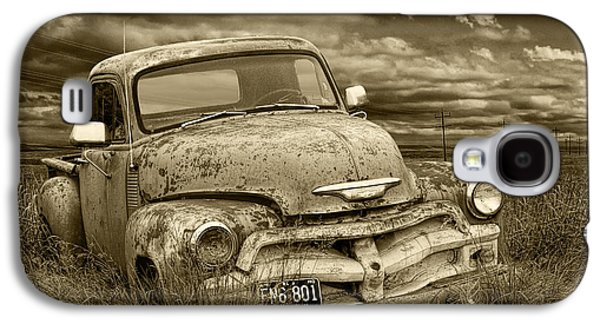 Selenium Galaxy S4 Cases - Sepia Tone Abandoned Chevy Pickup Truck Galaxy S4 Case by Randall Nyhof