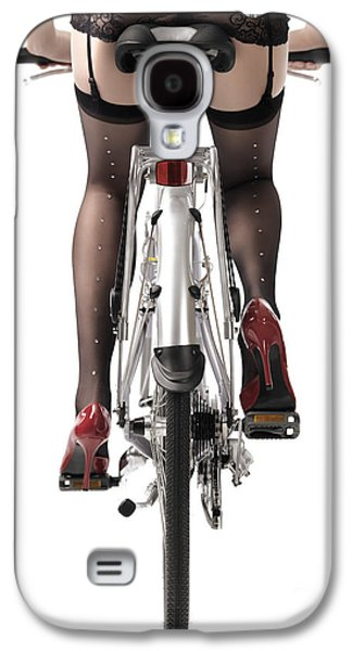 Studio Photographs Galaxy S4 Cases - Sexy Woman Riding a Bike Galaxy S4 Case by Oleksiy Maksymenko