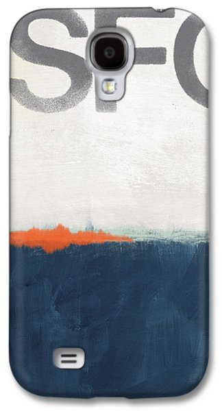 Texture Mixed Media Galaxy S4 Cases - SFO- abstract art Galaxy S4 Case by Linda Woods