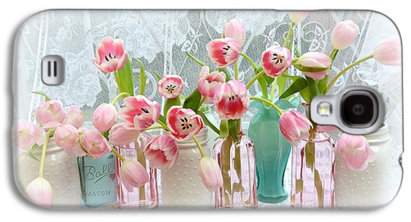 Shabby Chic Pink Tulips - Romantic Cottage Pink Aqua White Tulips Mason Jars Galaxy S4 Case by Kathy Fornal